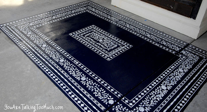 want to fancy up your outdoor space what about a stenciled rug on the concrete, concrete masonry, flooring, painting
