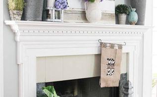 summer mantel decor with repurposed junk, fireplaces mantels, patriotic decor ideas, repurposing upcycling, seasonal holiday d cor, Summertime mantel decor