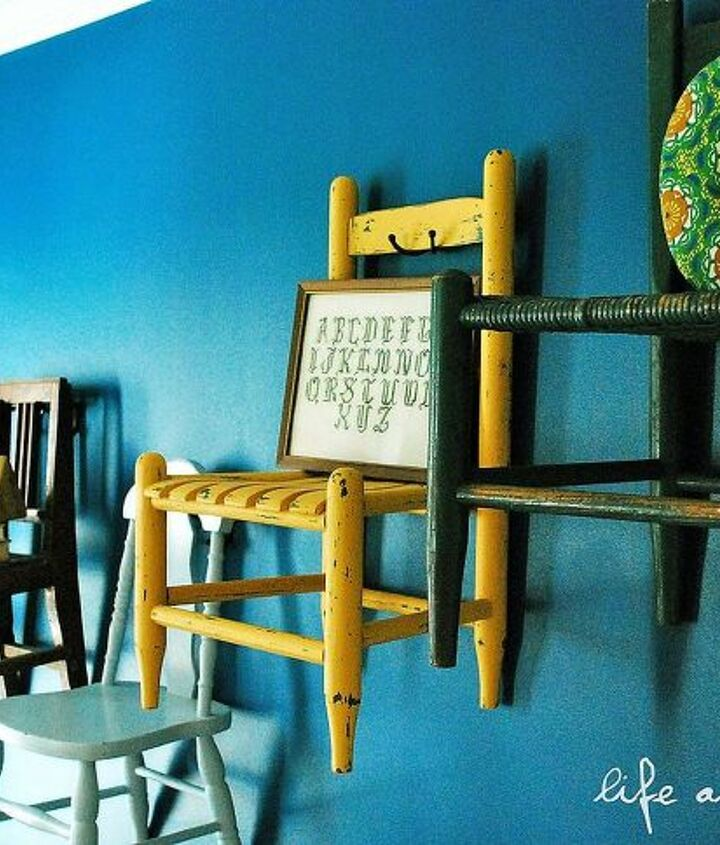 chairs on the wall yep, home decor, repurposing upcycling