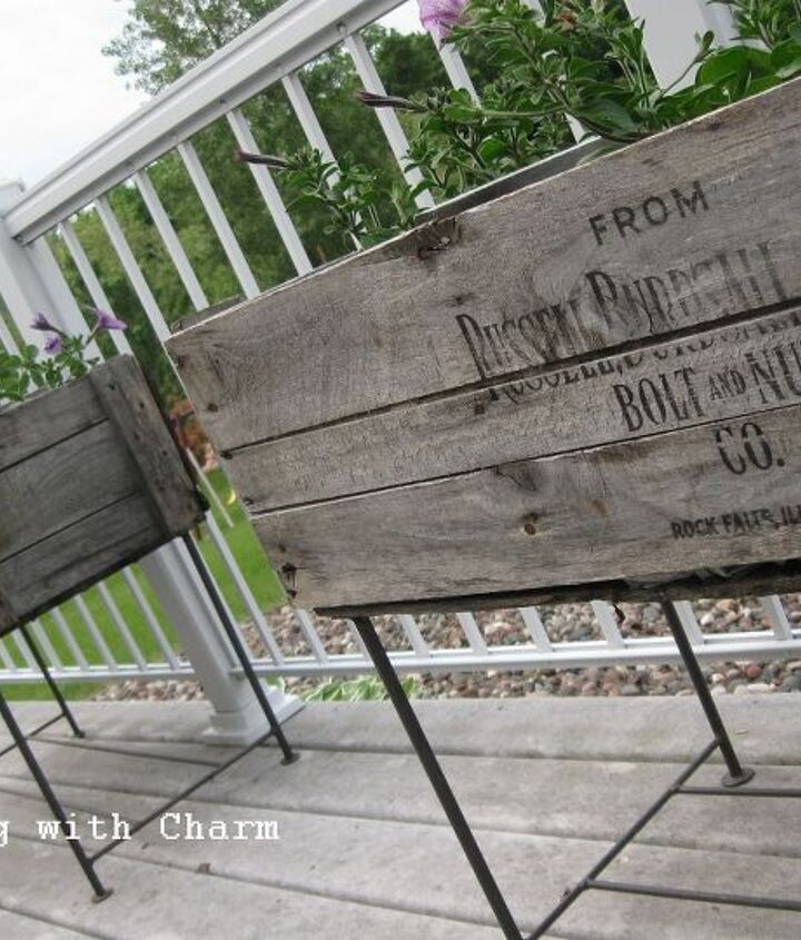 Planters made from old shipping crates.