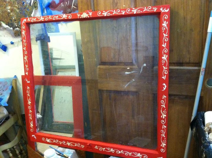 rescue windows, repurposing upcycling, windows, using some joint compund to raise stencils finish with dark wax
