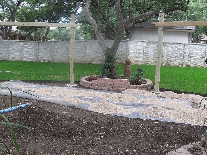 Arbors built....prepping the patio area