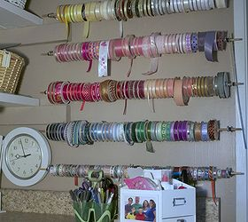 Ribbon Storage, Craft Rooms, Organizing, Storage Ideas, Five Wooden Dowel  Rods 1
