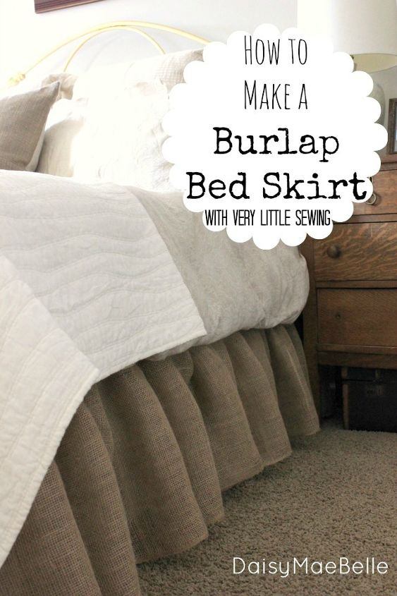 how to make a burlap bed skirt, bedroom ideas, crafts, home decor, If you can sew a straight line you can make this bed skirt