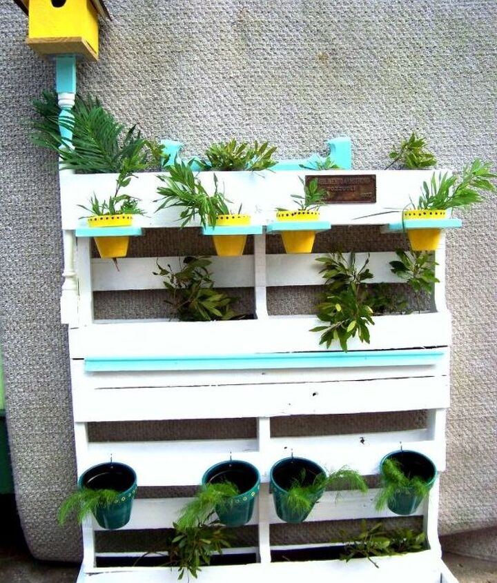 Shabby Chic Oak Pallet multiple level herb planter - is self standing or can be mounted on a fence