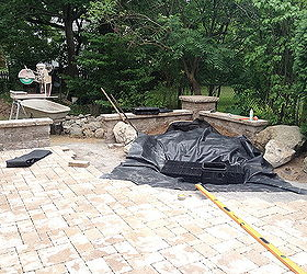 Landscape Design Waterfalls Water Feature Paver Patio Sitting Wall With  Pillars, Outdoor Living, Patio