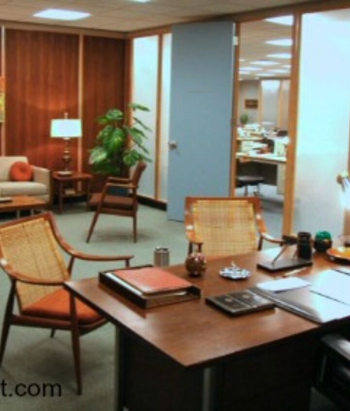 Don Draper's office, mid century modern all the way! http://www.myclevernest.com/2012/11/mid-century-modern-desk-resuscitation.html#