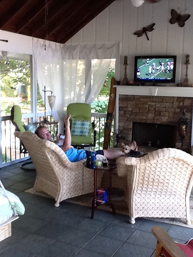 the view to the fireplace and big screen where football season is the best!
