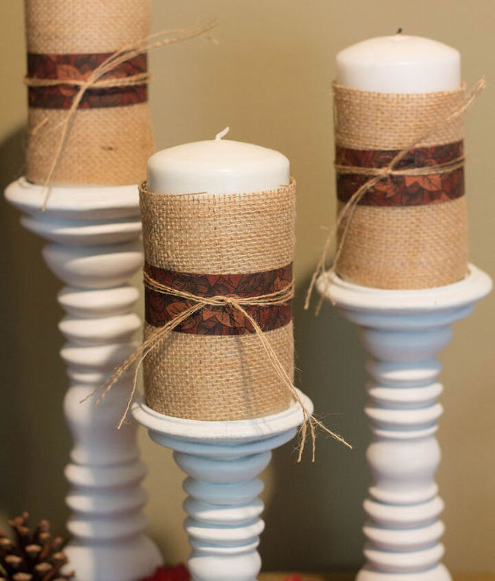 Simple and thrifty: candles wrapped in burlap, ribbon and string.