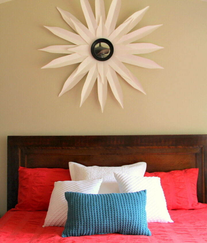 The sunburst mirror was made following a tutorial from The Nester.