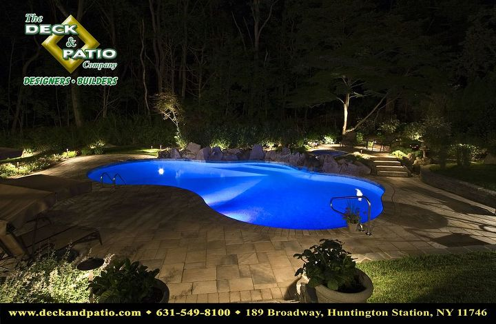 Pool night shot with color LED lights