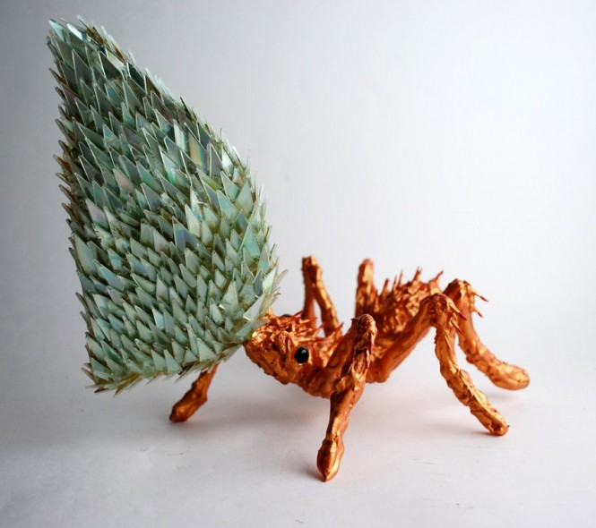 stunning sculptures made from discarded cd fragments, crafts