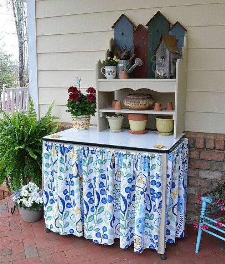 Used a vintage enamel top table and a bench for shelves