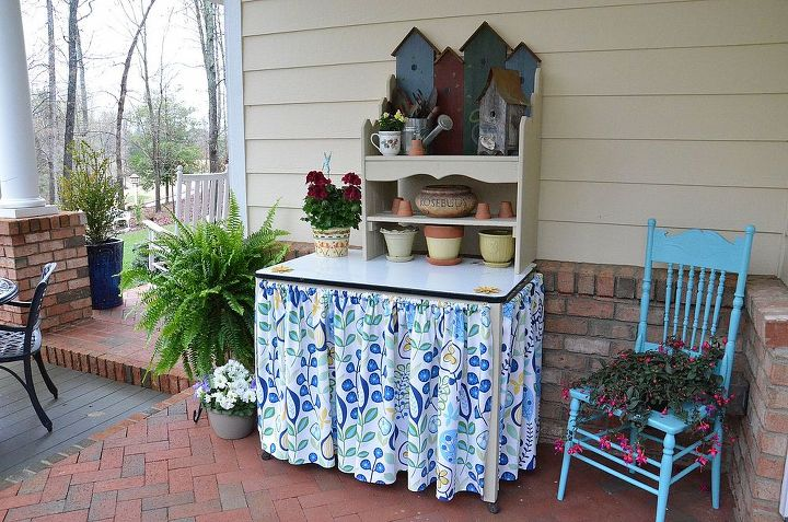 potting bench, flowers, gardening, painted furniture, Used a vintage enamel top table and a bench for shelves