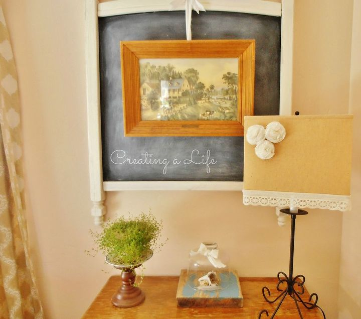 Currently using the large chalkboard as a backdrop for a piece of art.