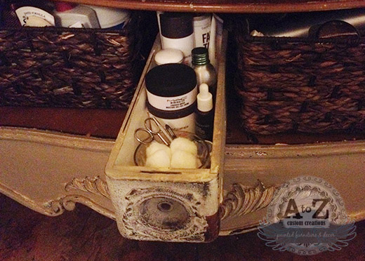 The sewing machine drawers are perfect for tight spots under the sink!