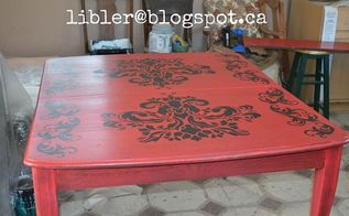 the lady in red dining table makeover, painted furniture