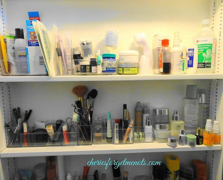 The top shelf holds our first aid supplies, really easy to find when needed. The other shelves are organised to hold my makeup and other personal care supplies.