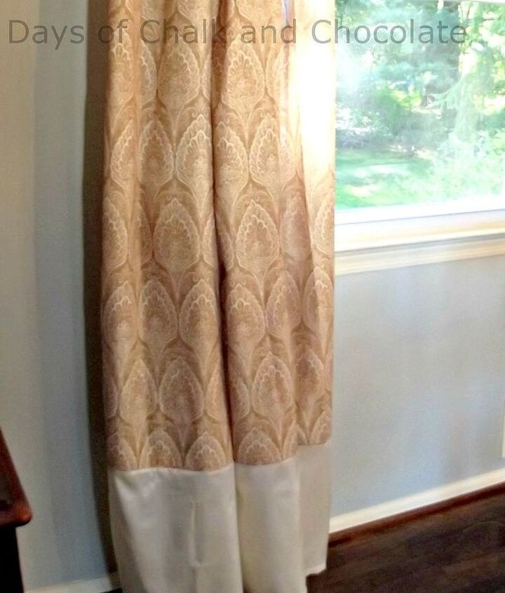 Extend curtains by adding a band on the bottom.