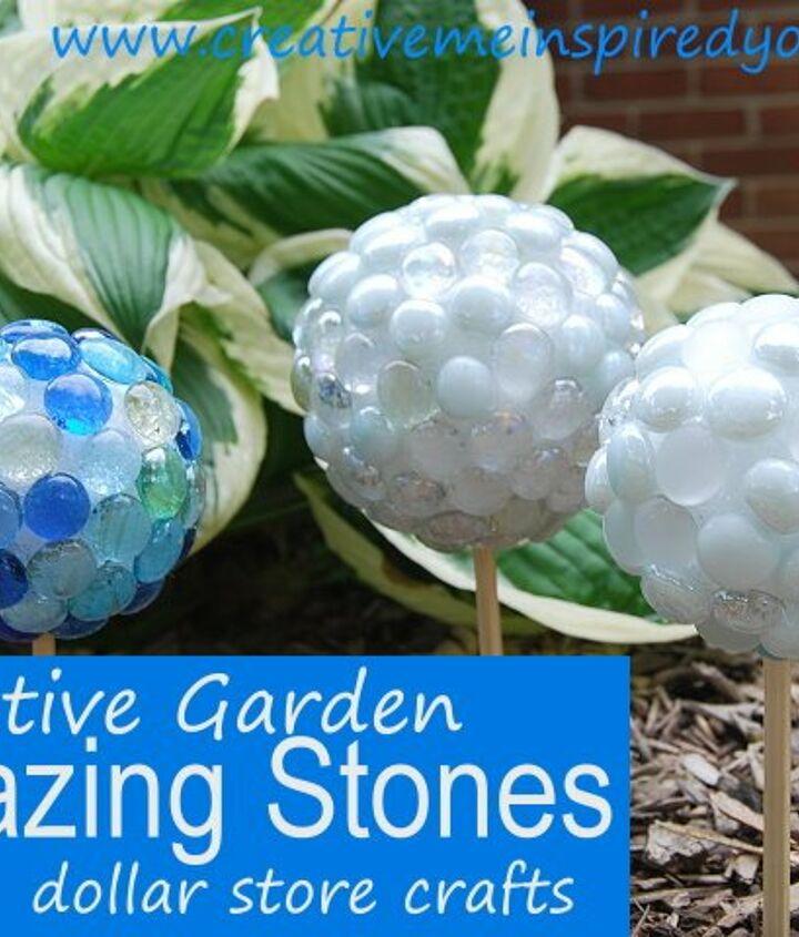 dollar store marble garden gazing stones, gardening, outdoor living