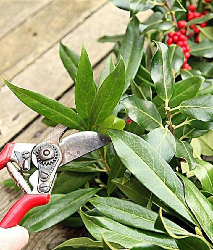 Use the pruners to do some shaping. Hang the wreath and stand back to evaluate where more or less is needed.