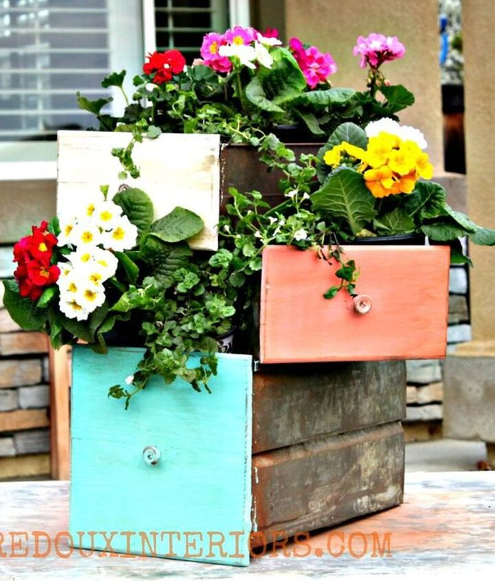I love the way the stacked drawers look with flowers spilling out.