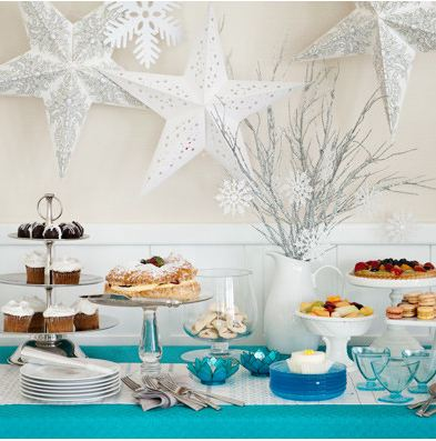 Dessert Buffet: Make your dessert buffet the height of decadence with footed and tiered stands that display sweet treats at their sugary best. A winter scheme of brilliant blue and snowy white ends with plent of dessert cups.
