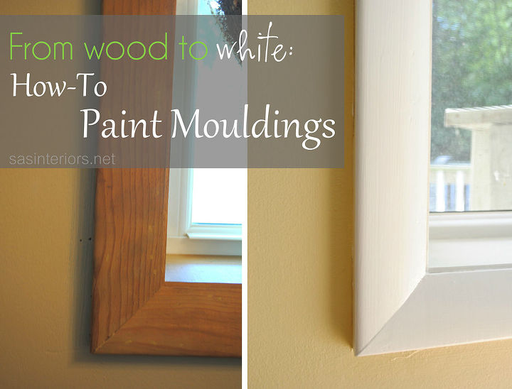 from wood to white how to paint moudlings, painting, The before and after of painting wood mouldings to white