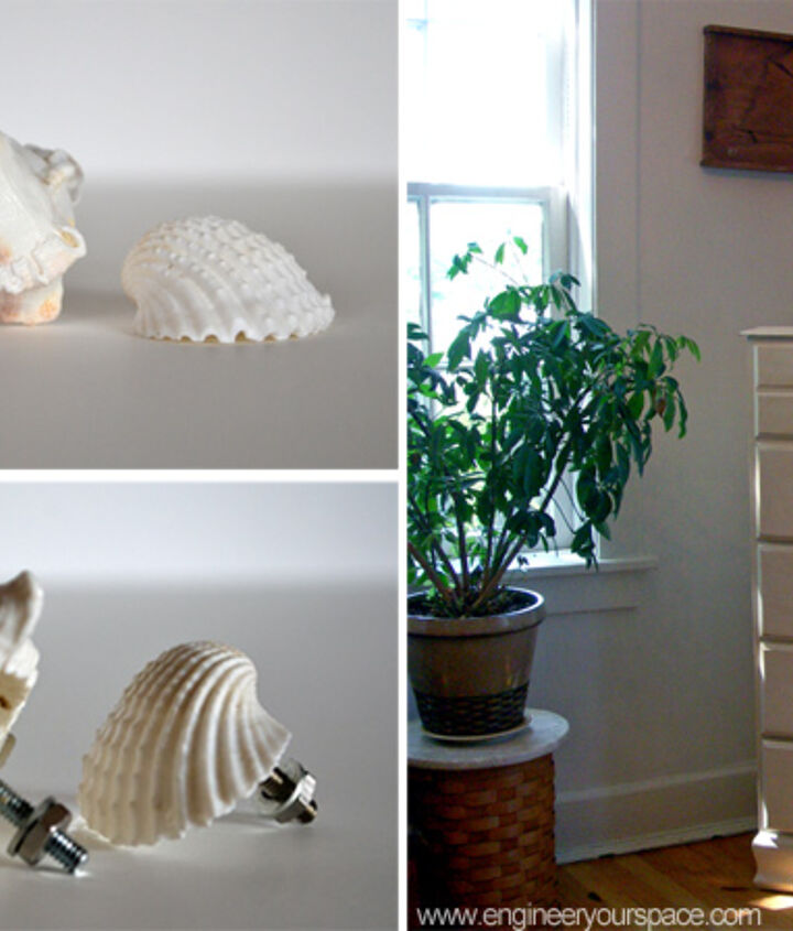 DIY decorative shell dresser knobs give a new look to an old dresser