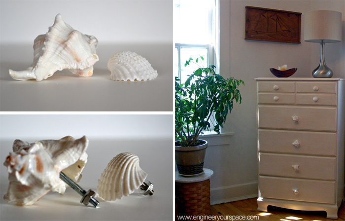 diy decorative shell dresser knobs, crafts, painted furniture, DIY decorative shell dresser knobs give a new look to an old dresser