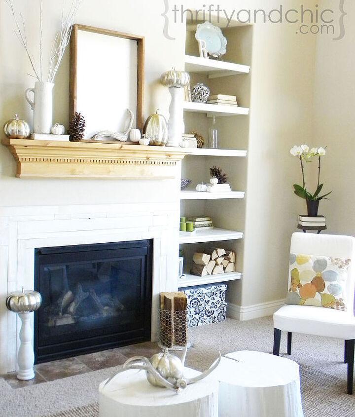 neutral fall living room and mantel, living room ideas, seasonal holiday decor