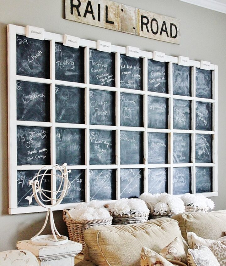 chalkboard wall calendar, chalkboard paint, crafts, wall decor, windows
