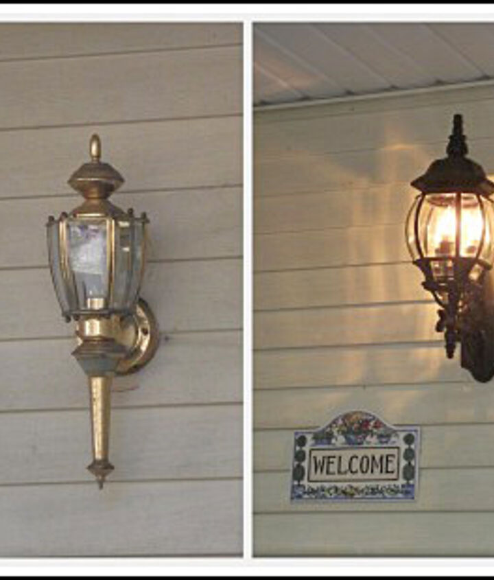 The brass light fixture had to go!