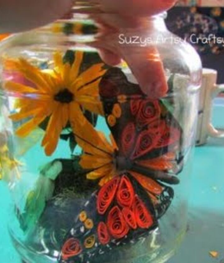 Quilled butterfly in a jar paper craft