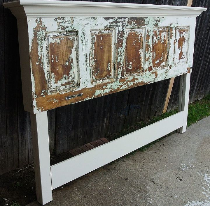 old door headboard made for a king size bed, painted furniture, repurposing upcycling