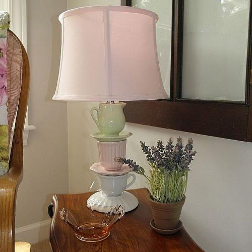 decorating with lamps, home decor, lighting, I just purchased this yesterday at Homegoods I paid 50 00 This is the most I ve ever paid but I fell in love with this lamp I was going to make one out of some of my tea cups but decided I couldn t do better than this