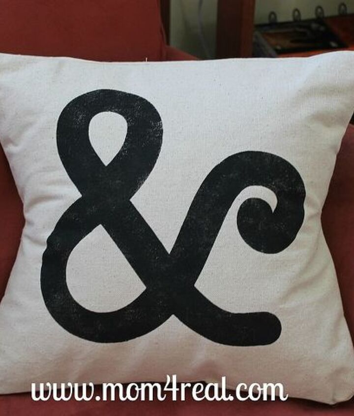 Freezer paper stenciled Ampersand Pillow
