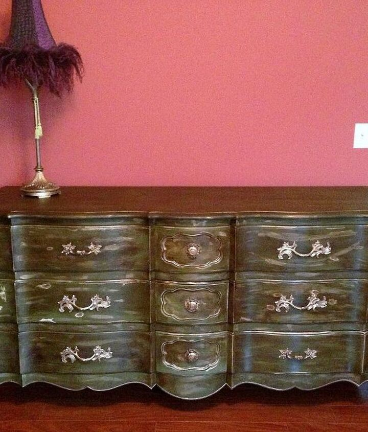 Dresser from a distance.  The wall color does not fo the dresser justice.  Luckily it is not going in this room!