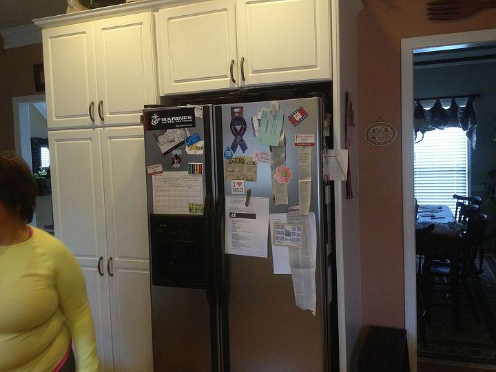 """""""Before"""" of white kitchen cabinets"""