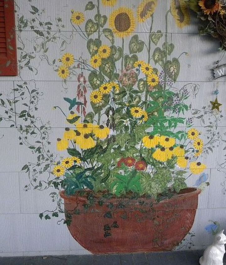 most of the flowers are stencils.  This is on the side porch