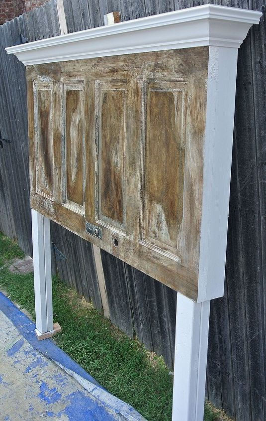 4 panel old door headboard dark faux finish, painted furniture, repurposing upcycling