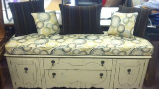 buffet heaven, painted furniture, made them into a entry bench with storage