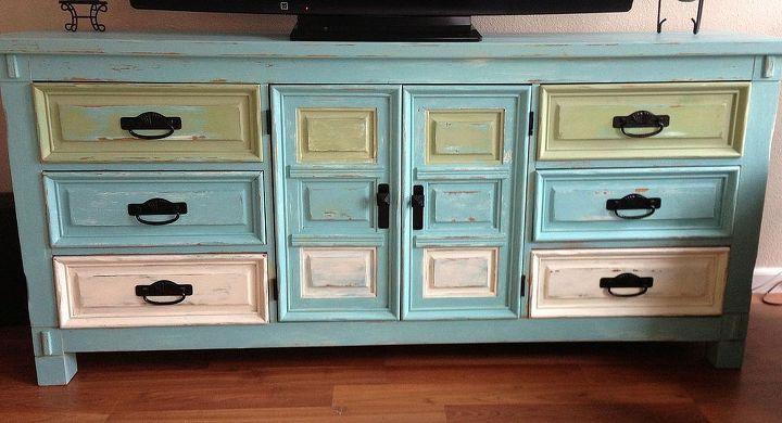 dresser entertainment center, painted furniture