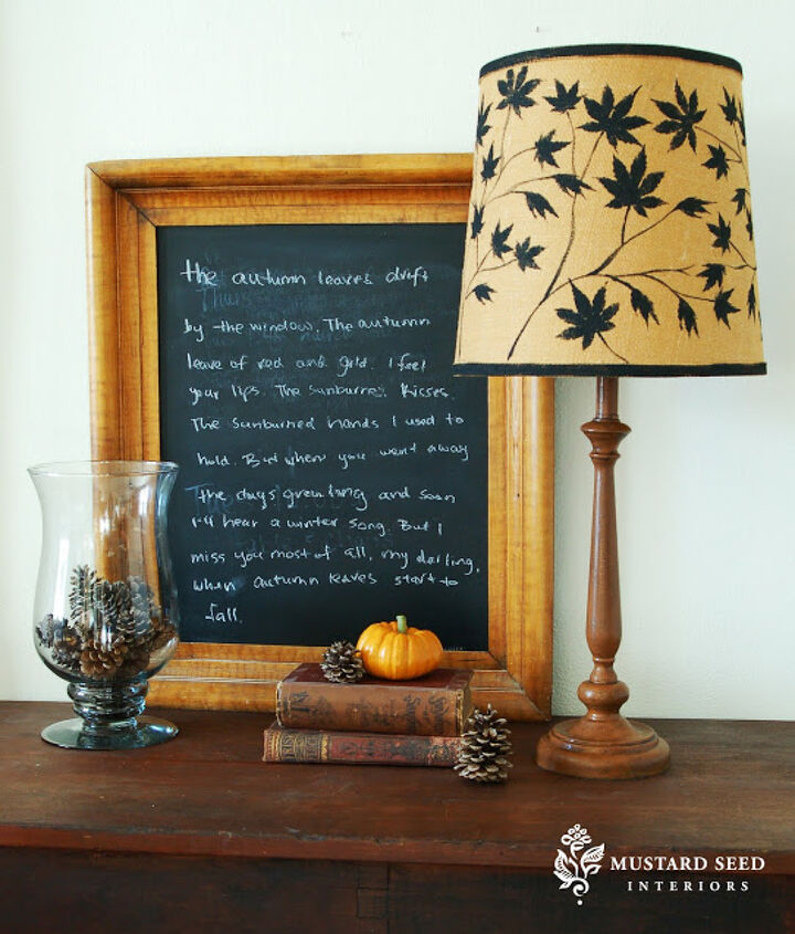 Japanese Maple Leaves stenciled lamp shade