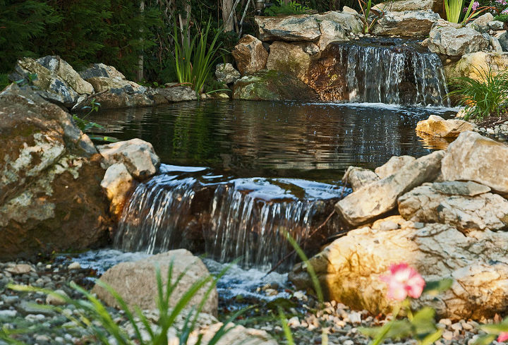 Bog filtration (upper waterfall) and pondless reservoir (lower waterfall)