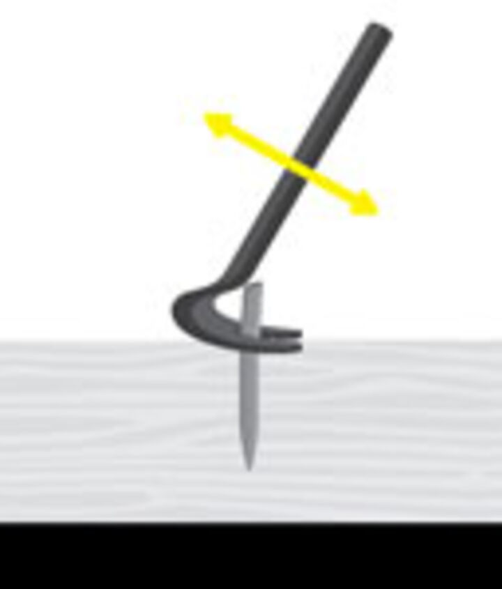 Pry: Pound cat's paw under a nailhead; pry and lift. Grip staples and small nailheads with CoBolt or Channellock 449 high-leverage cutting pliers; pry up and remove. For extra leverage, rock the tool back on a center punch.