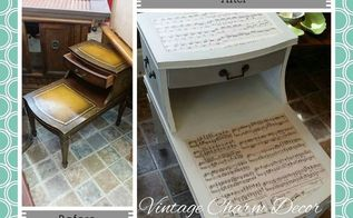 music table redo with mod podge, chalk paint, painted furniture
