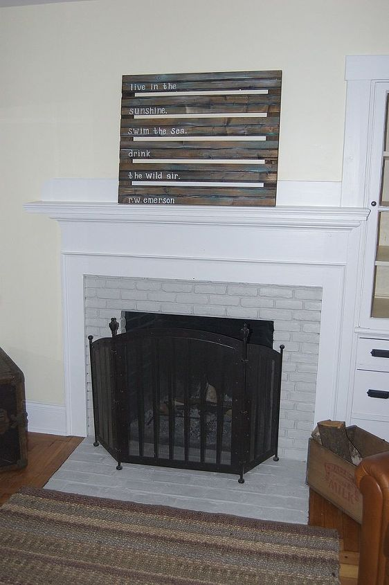 Heat resistant Rustoleum inside and Pewter Manor Hall paint on the brick