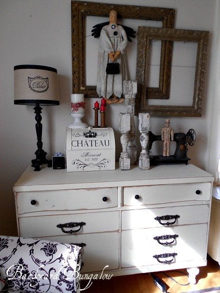 """The """"breadbox"""" on the dresser is actually a charging station for all of my electronics.  The dresser holds sewing notions, as well as old hardware such as hinges and knobs for my furniture make overs."""