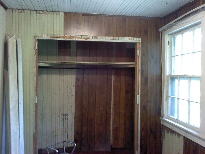 Old closet. Too small, had honey bees behind the paneling, they had to be removed also.